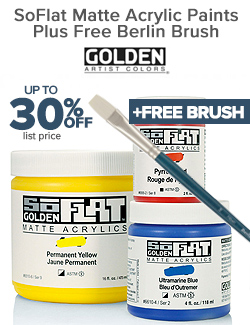 GOLDEN SoFLAT Acrylic Paints on sale 30% OFF + Free Brush, See Details