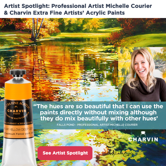 Professional Artist Michelle Courier Uses and Reccommends Charvin Extra Fine Acrylics
