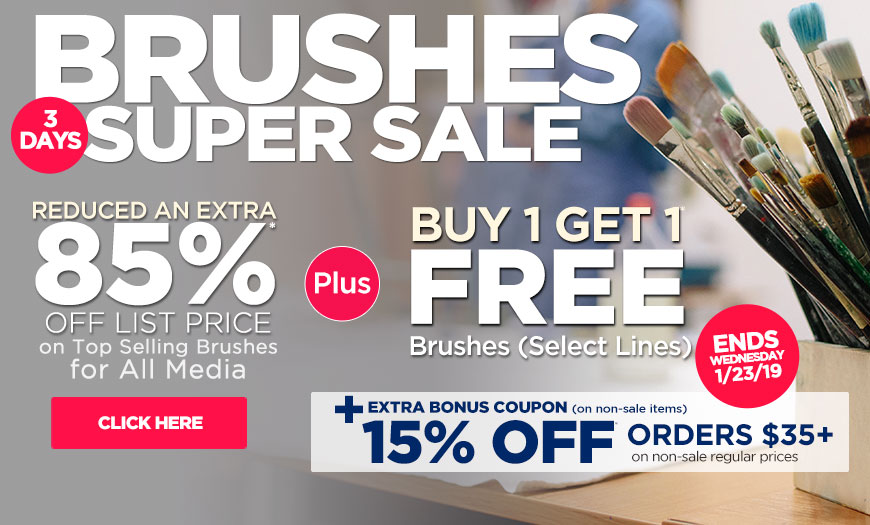 3 Day Super Sale on Brushes Plus Buy 1 Get 1 Free Brush Sale - Extra 15% OFF Bonus Coupon & Already Reduced Hot Buys - must use code bc19ja at checkout