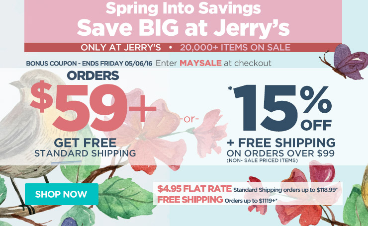 Save up to 15% Off Orders Over $99 Plus Free Shipping - Use Code maysale