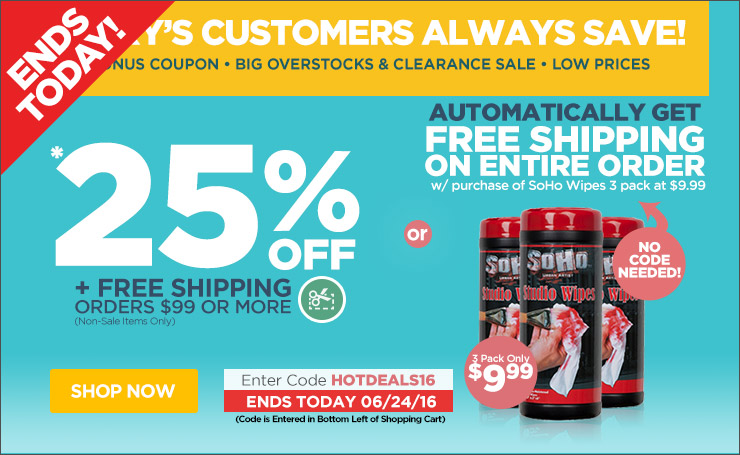 Save up to 25% Off Orders Over $99 Plus Free Shipping - Use Code hotdeals16