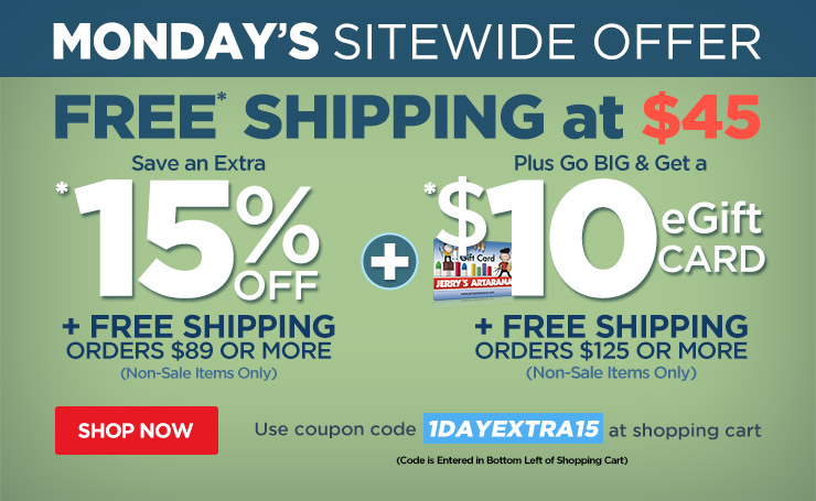 Save up to 15% Off Plus $10 eGift Card Orders Over $125 Plus Free Shipping - Use Code 1dayextra15