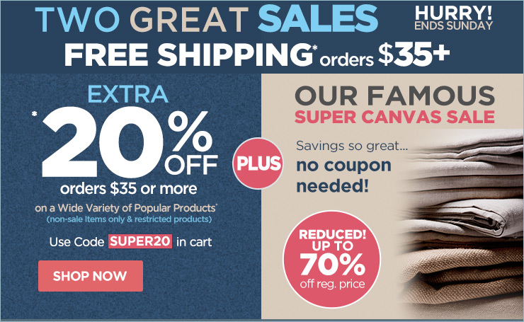 Free Shipping orders $35 + BONUS Coupon 20% Off and Super Canvas Sale