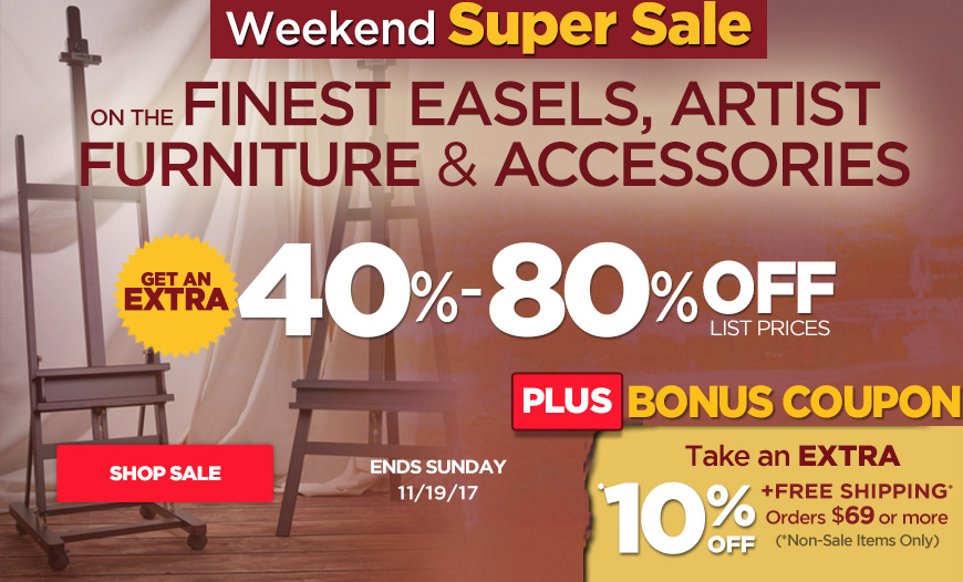 Save 40%-80% Off on Easels, Studio Furniture plus Free Shipping orders $35+