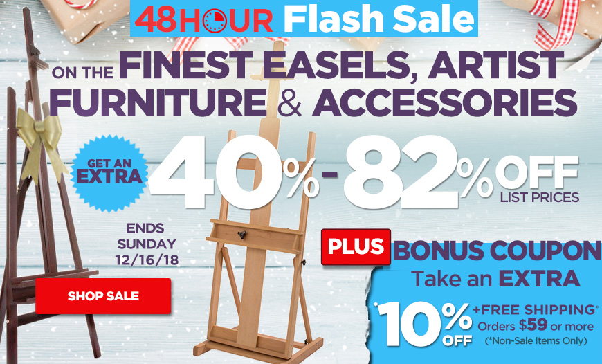 Save 40-82% Off on Easels, Studio Furniture plus Free Shipping orders $35+