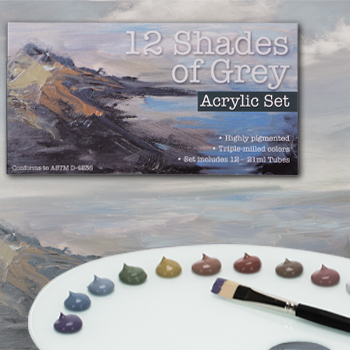 12 shades of grey acrylic set