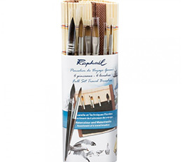 Raphael Precision Mini Brush Travel Set of 6 with Bamboo Roll-Up