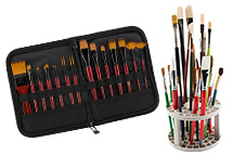 Wide selection of brush easels, storage and travel cases and even bamboo roll-up holders!