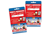 Jerry's online gift cards for artists birthdays, holidays, and special occassions.