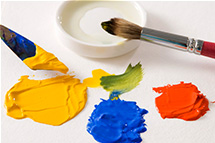 Gouache paints, which means water paint or splash in Italian, is a type of paint in which the pigment is suspended in water.