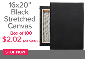 Black Cotton Stretched Canvas 5/8