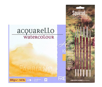 Artistico Watercolor Block and Brush Set