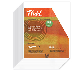 Global Arts Fluid Watercolor 20 assorted sheets paper pack