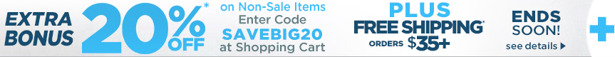 Extra 20% OFF Bonus Coupon orders $35 + Hot Buys