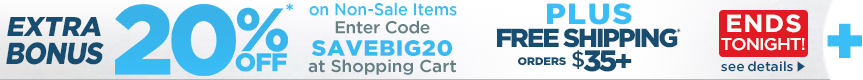 Ends Tonight - Extra 20% OFF Bonus Coupon orders $35 + Hot Buys