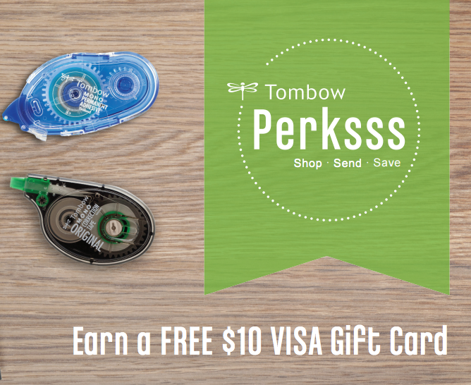 REBATE OFFER! Earn a FREE $10 Visa Gift Card for every $100 you spend on Tombow Products!